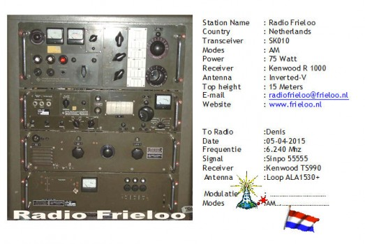 QSL from Frieloo to IV3PGQ