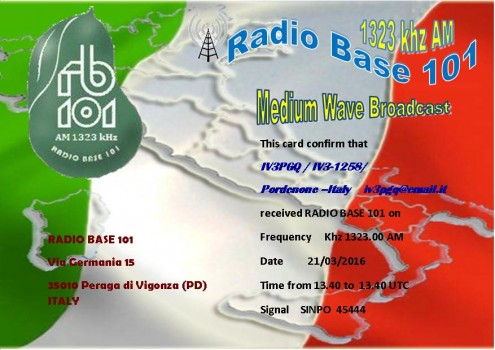 Radio Base 101 qsl Denis - Pordenone ITALY