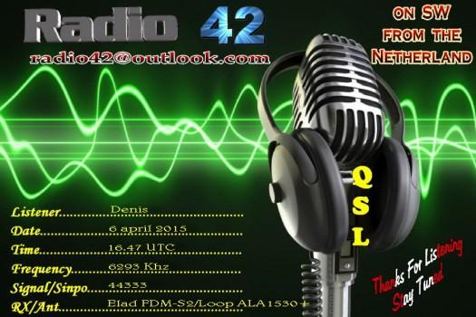 QSL kaart Denis Italy Radio 42