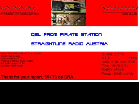 Straightline Radio Austria QSL - Denis-sito